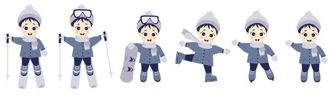 les enfants en hiver. athlète garçon ski, patinage et snowboard dans différentes poses. ensemble de sports d'hiver et enfant. illustration vectorielle. collection pour enfants pour cartes postales, design et impression vecteur