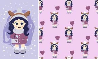 les enfants en hiver. modèles sans couture et carte de voeux. une fille avec des cornes de cerf sur la tête et avec un ballon et un sac à main en vêtements d'hiver. vecteur. pour la conception et les salutations de Noël vecteur