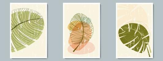 ensemble d'affiche de contour de vecteur d'art mural botanique. feuillage minimaliste avec une forme simple abstraite