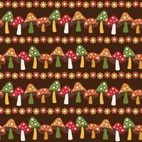 Champignon des bois et motif de rayures sans soudure de marguerite sur fond marron vecteur
