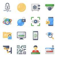 jeu d'icônes de cybersécurité et de protection des données vecteur