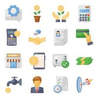 jeu d & # 39; icônes finance et banque vecteur
