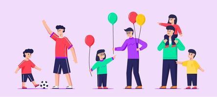 jeu de caractères père et enfants vecteur