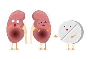 rein malade souffrant triste avec des caractères de comprimé de médicament médicamenteux. anatomie humaine système génito-urinaire organe malsain interne avec tablette. illustration de vecteur de dessin animé isolé