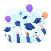 concept de célébration de remise des diplômes heureux vecteur