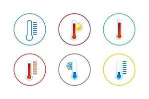 jeu d'icônes de thermomètre coloré vecteur