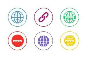jeu d'icônes d'URL de site Web coloré vecteur