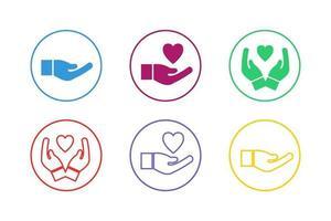jeu d'icônes de main aidant coloré vecteur