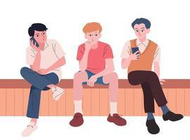 les hommes sont assis sur le banc et regardent leurs téléphones portables. illustrations de conception de vecteur de style dessiné à la main.
