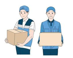 un livreur tenant une boîte de courrier. illustrations de conception de vecteur de style dessiné à la main.