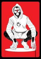 un homme dans un masque et une capuche est assis dans une pose cool. illustrations de conception de vecteur de style dessiné à la main.
