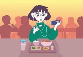 une femme mangeant un repas avec des écouteurs. illustrations de conception de vecteur de style dessiné à la main.