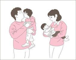famille heureuse. illustrations de conception de vecteur de style dessiné à la main.