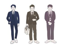 personnage d'homme d'affaires en costume. illustrations de conception de vecteur de style dessiné à la main.