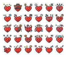 coeur sentiment couleur contour icônes vectorielles vecteur