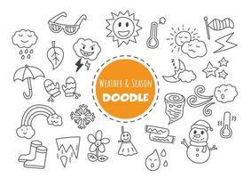 doodle kawaii météo et saison vecteur