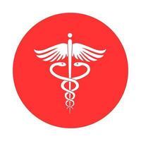icône de serpent de signe médical. pictogramme de style glyphe ambulance hospitalière vecteur