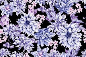 modèle sans couture de fleurs épanouies aquarelle vecteur