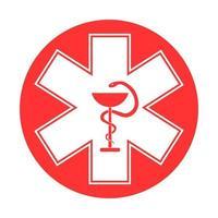 icône de signe médical étoile de la vie. pictogramme de style glyphe étoile ambulance hôpital vecteur