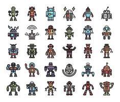 icônes vectorielles de contour de couleur robot vecteur
