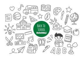 retour à l'école doodle kawaii vecteur