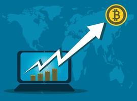 affaires bitcoin, flèche vers le haut de l'écran de l'ordinateur sur fond de carte world.vector illustrator vecteur