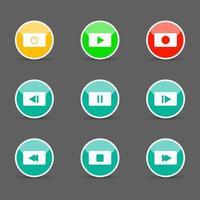 symbole icon set lecteur multimédia contrôle boutons ronds blancs. illustrateur de vecteur