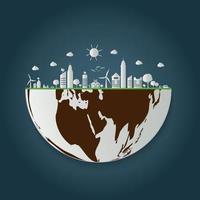 écologie.Les villes vertes aident le monde avec des idées de concept écologiques.Illustration vectorielle vecteur