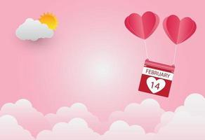 Saint Valentin, ballon en forme de coeur flottant dans le ciel, fond rose, art du papier vecteur