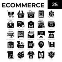 icônes de glyphe de commerce électronique vecteur