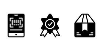 code qr, récompense, icône de glyphe de package vecteur