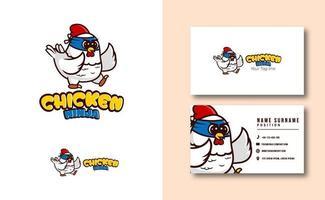 modèle de carte de visite de logo de mascotte ninja de poulet mignon vecteur