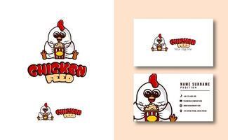 modèle de carte de visite de logo de mascotte de poulet mangeant du pop-corn vecteur
