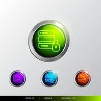 Sécurité du bouton 3D et icône privée. vecteur