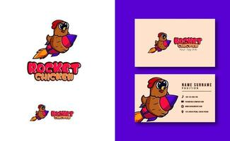 mascotte de personnage kawaii. ensemble de modèles de carte de visite de logo de mascotte de poulet brun mignon vecteur