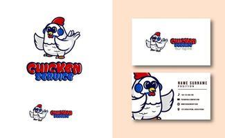 mascotte de personnage kawaii. ensemble de modèles de carte de visite de logo de mascotte de service de poulet mignon vecteur