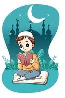 garçon musulman lisant un livre dans la nuit illustration de dessin animé ramadan kareem vecteur