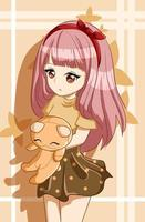 Jolie et belle fille cheveux longs roses avec illustration de dessin animé de personnage de conception de poupée vecteur