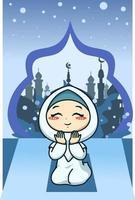 fille musulmane priant à l'illustration de dessin animé de ramadan kareem vecteur