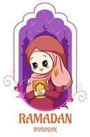 jolie fille musulmane avec coran à illustration de dessin animé ramadan kareem vecteur