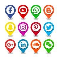 Icônes de pointeur de médias sociaux vecteur