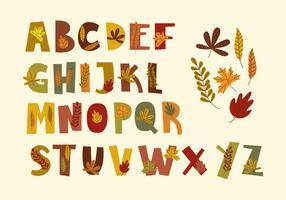 Alphabet des feuilles d'automne vecteur