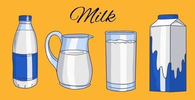 ensemble d'illustrations vectorielles en style cartoon de bouteilles en verre avec du lait. lait dans un verre, une cruche, dans une boîte en carton, dans une bouteille. vecteur