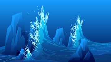 Les vagues de haute mer frappent le vecteur de Rokcs