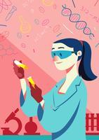 Femme scientifique vecteur