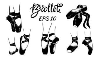 un ensemble de chaussures de ballet. vecteur