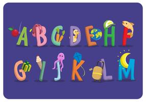 Alphabet à thème style plat école vecteur