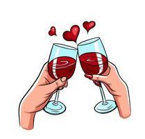 couple amoureux deux mains tinter le vecteur de verres à vin rouge