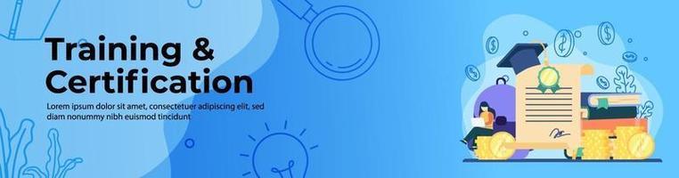 bannière web formation et certification vecteur