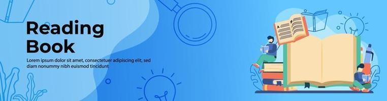 conception de bannière web livre de lecture étudiant vecteur